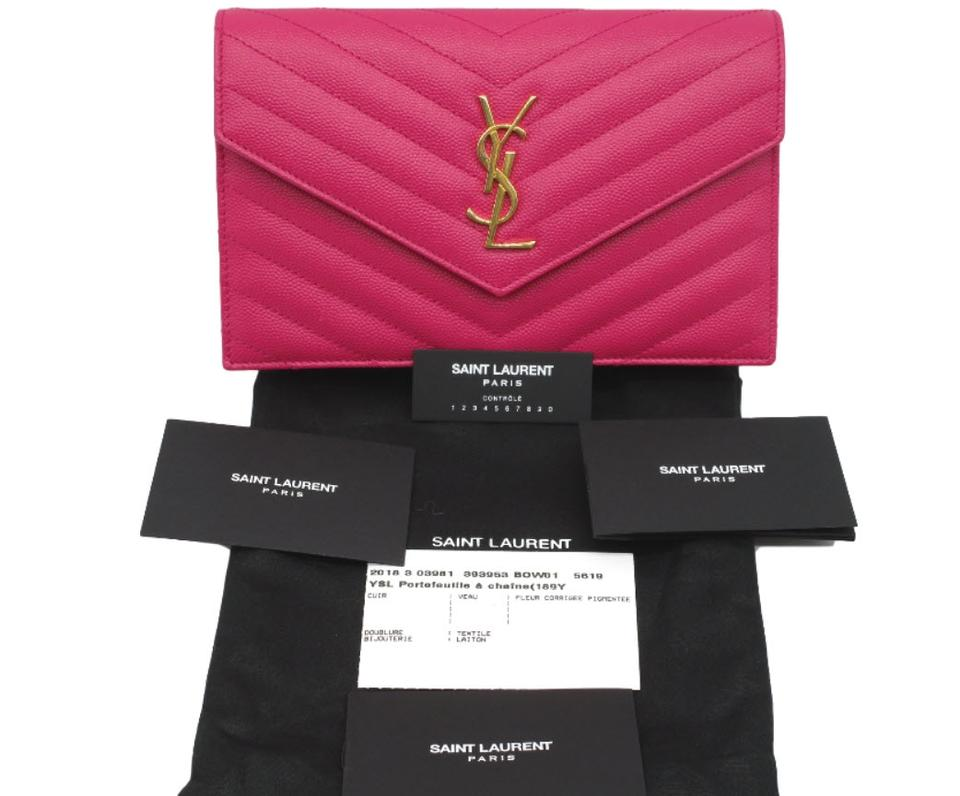 Pink Cross Bag Chain Quilted Leather Saint Monogram A Body On Laurent Envelope Calfskin Wallet OzWgwPHq8W