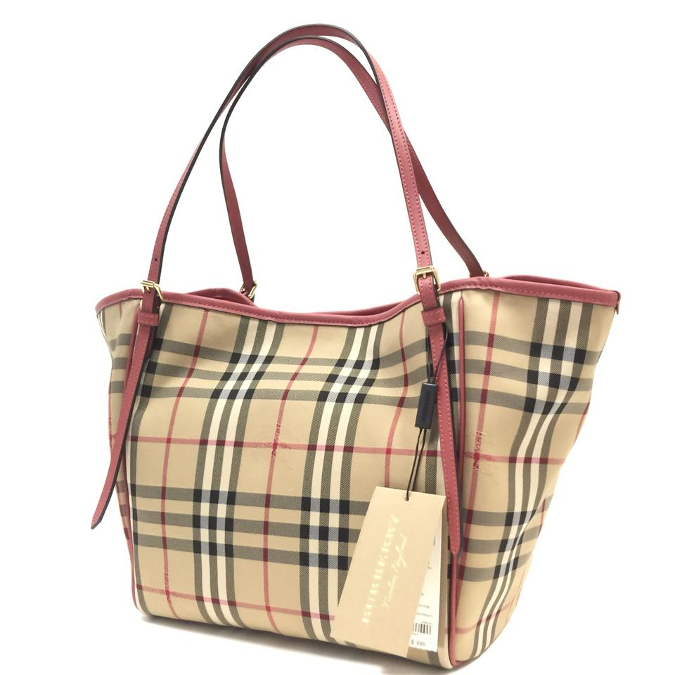 6017485a5275 Burberry London  small Canter  Horseferry Check   Leather Purse Honey    Antique Rose Tote