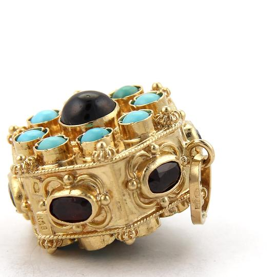 Other Cabochon Turquoise & Garnet 18k Gold Octagon Charm