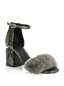 Alexander Wang Fur Snakeskin Leather Army Sandals