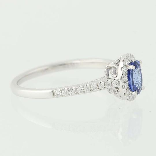 Other NEW Sapphire & Diamond Halo Ring - 14k White Gold Engagement n5656