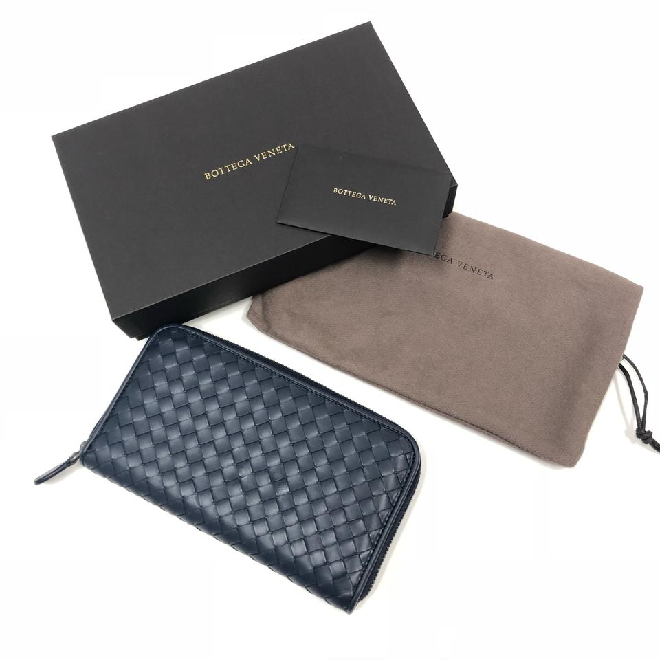 02b5a417e8e30 Bottega Veneta Light Tourmaline Side Zip-around Navy Blue Wallet ...
