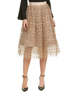 Alice + Olivia Skirt gold sequined