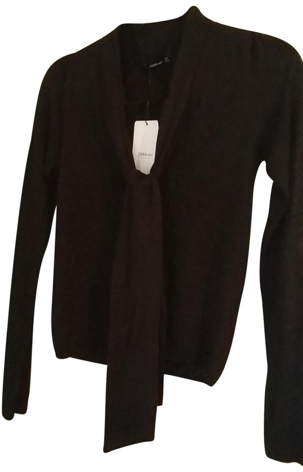 a98ae53e Zara Knit with Front Tie Black Sweater - Tradesy