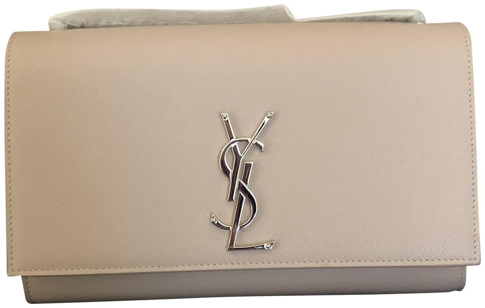 e211aee7080 Saint Laurent Monogram Kate New Medium Silver Pink Leather Shoulder ...