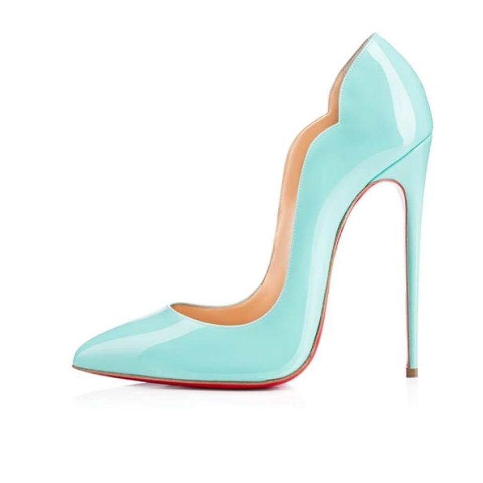 e1af063e18e6 Christian Louboutin Tiffany Blue Hot Chick 130mm Opaline Patent Leather  Heel Stiletto Pigalle Pumps