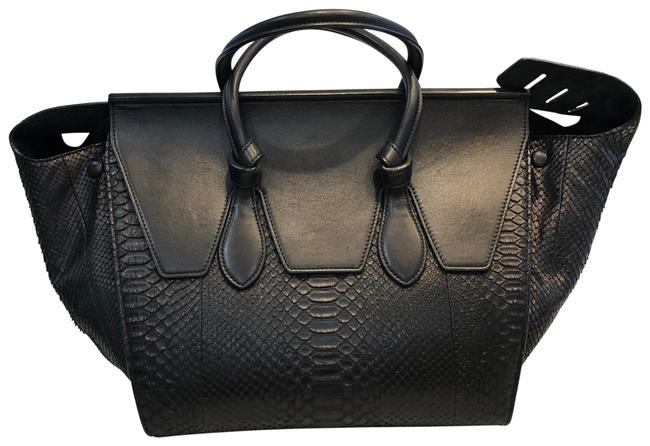 Item - Excellent Condition Black Python Leather with Calfskin Trim Tote