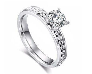 Other 2.00 CTW Sparkling Row Solitaire Cubic Zirconia Rhodium Plated Ring