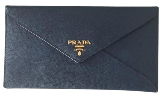 d28572a73126 Prada Envelope Blue Leather Clutch - Tradesy