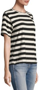 AMO Striped Distressed Tomboy T-shirt Casual T Shirt Black and White