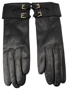 Portolano Black New Long Leather Gloves Size 7 Cashmere Lined