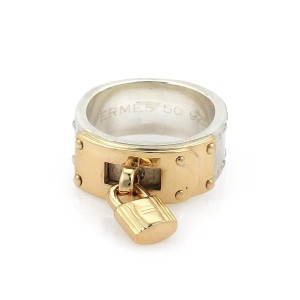 Hermès Sterling 18k Yellow Gold Padlock Drop Charm Band Ring Size 50-US 5