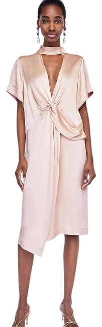 Item - Nude Knotted with Button Mid-length Casual Maxi Dress Size 4 (S)