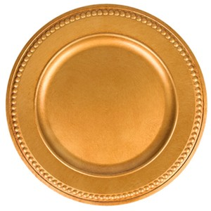 Gold Antique Plated Charges with Beaded Rims Tableware