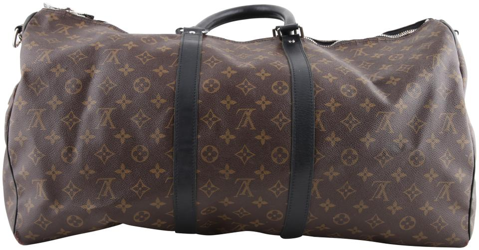 Louis Vuitton Keepall Monogram Macassar Bandouliere 55 Brown Coated
