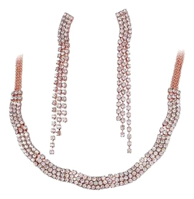 Item - Rose Gold Dazzle Earring Set Quality 18k Plated Necklace