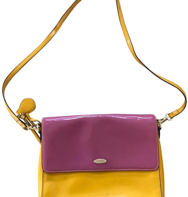 Item - Pink and Yellow Patent Leather Cross Body Bag