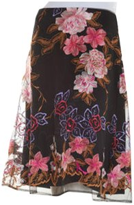 ECI New York Embroidered Florals Mesh Overlay A-line Silhouette Waistband/Back Zip Bright Colors Skirt Multi-Color