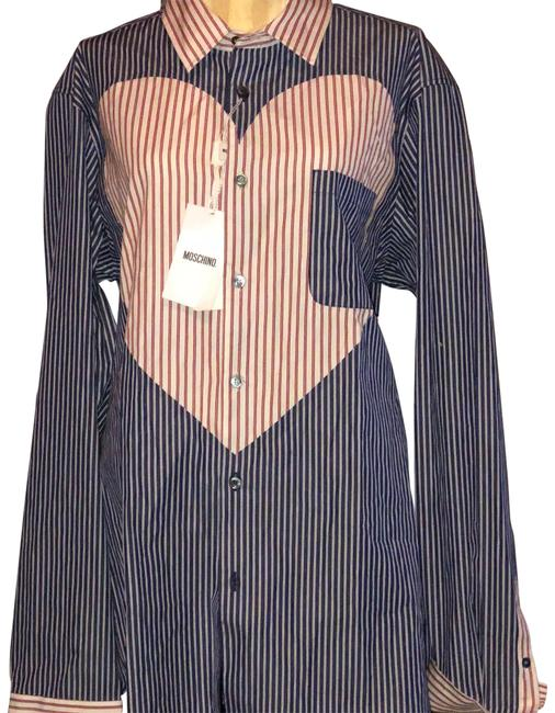 Item - Blue and White (Red Heart) 231233 Button-down Top Size 10 (M)