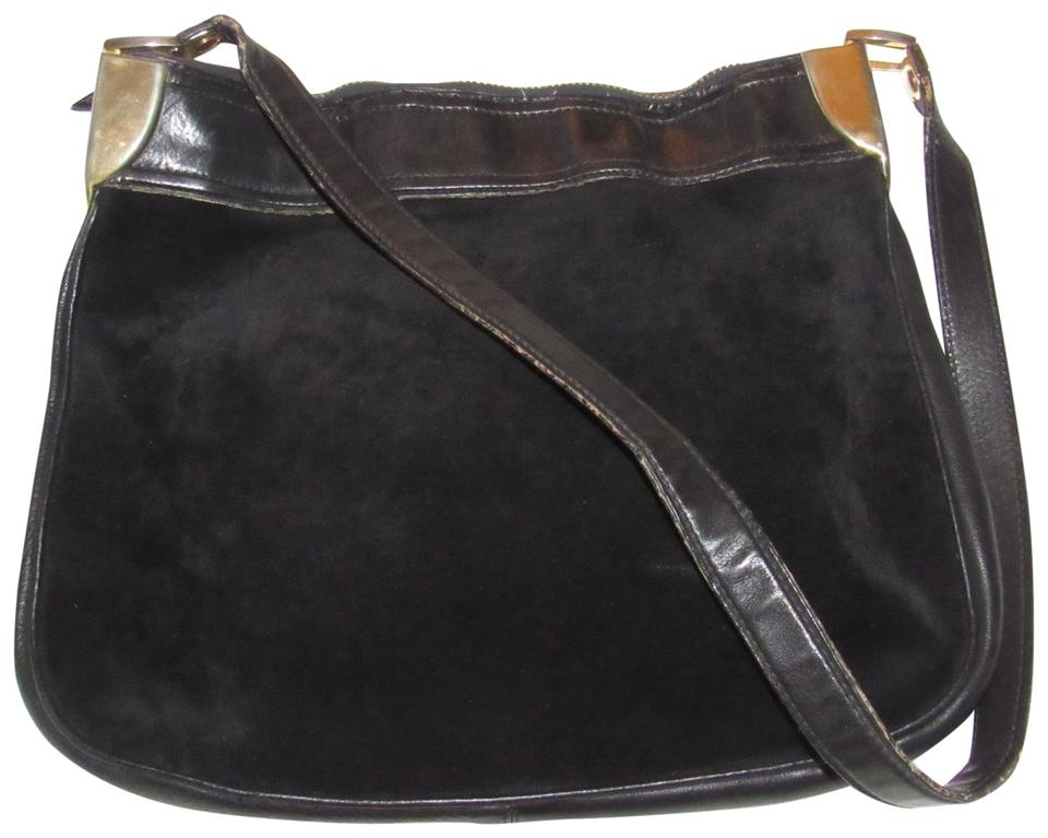 Gucci Vintage Purses Designer Purses Black Suede with Black Leather ... 8ba9d4bee2b69