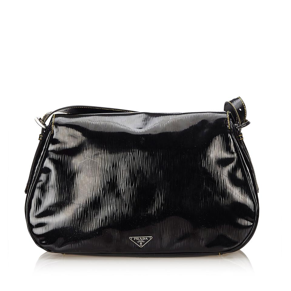 Leather X Black Patent Shoulder Prada Leather Bag InB10I8x