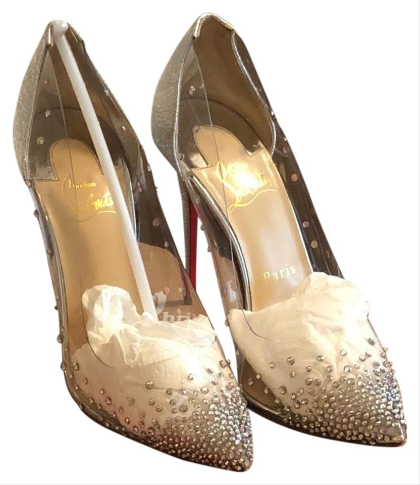 half off 70815 cafd4 Christian Louboutin Silver Women's Degrastrass Pvc & Specchio Leather Pumps  Formal Shoes Size US 7 Regular (M, B) 28% off retail