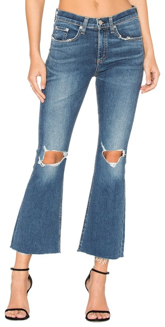 Item - Distressed Crop High Rise Raw Hem Flare Leg Jeans Size 24 (0, XS)