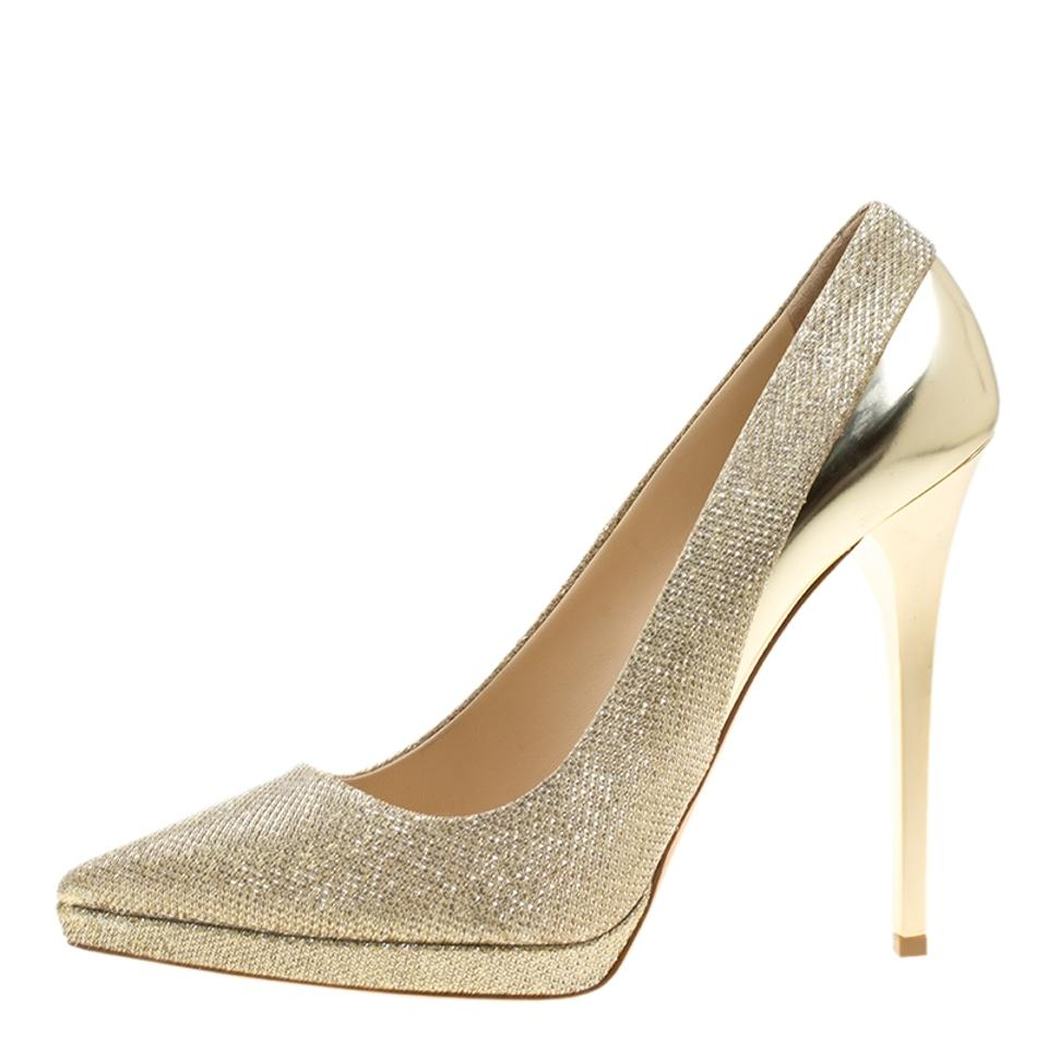 Leather Choo Lamè and Gold Toe Platform Pumps Metallic Jimmy Aude Pointed Xd6xqX