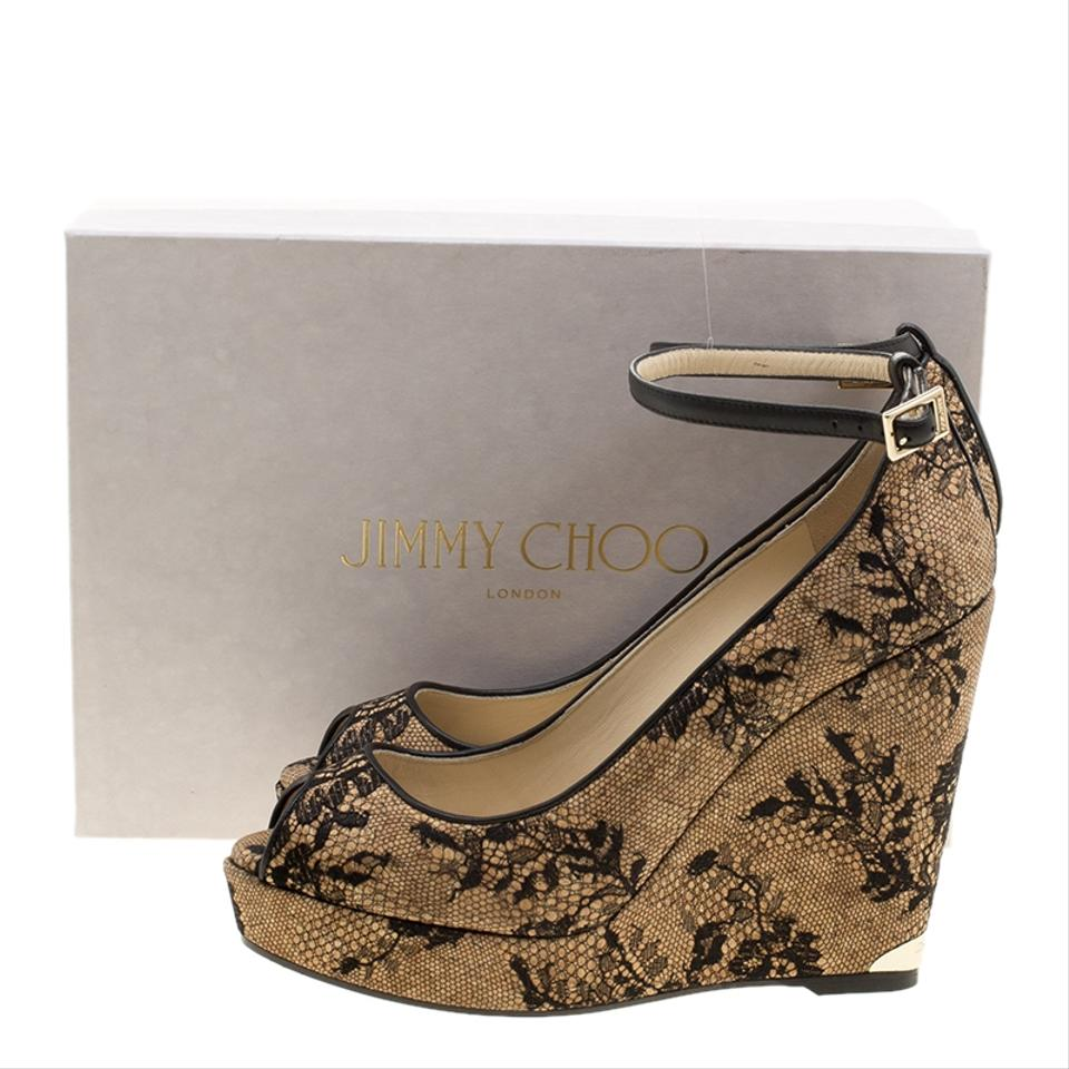 bf64bf18c2 Jimmy Choo Beige Cork and Lace Pacific Peep Toe Ankle Strap Wedge Pumps