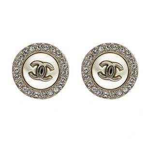 Chanel CC Faux Pearl Crystal Round Stud Earrings