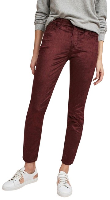 Item - Wine Jen7 By7 For All Mankind Velvet Mid-rise Ankle 10 Skinny Jeans Size 33 (10, M)