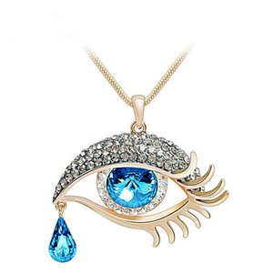 Unbranded Blue Tear Drop Golden Sexy Eye Rhinestone Necklace