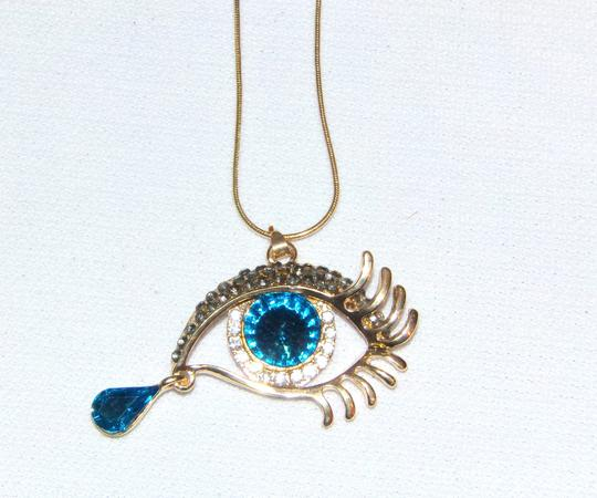Unbranded Blue Tear Drop Golden Sexy Eye Rhinestone Necklace Image 1