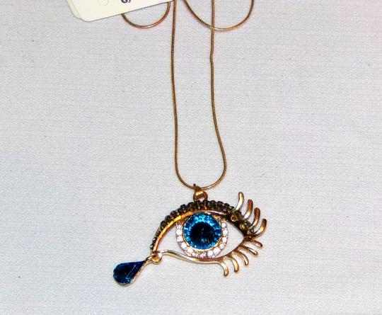 Unbranded Blue Tear Drop Golden Sexy Eye Rhinestone Necklace Image 2