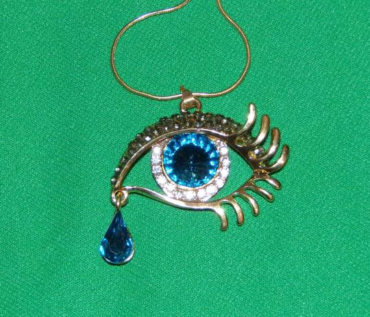 Unbranded Blue Tear Drop Golden Sexy Eye Rhinestone Necklace Image 3