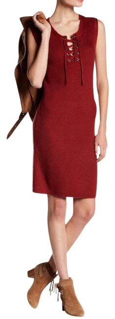 Item - Red Thora Knit Sheath Short Night Out Dress Size 8 (M)