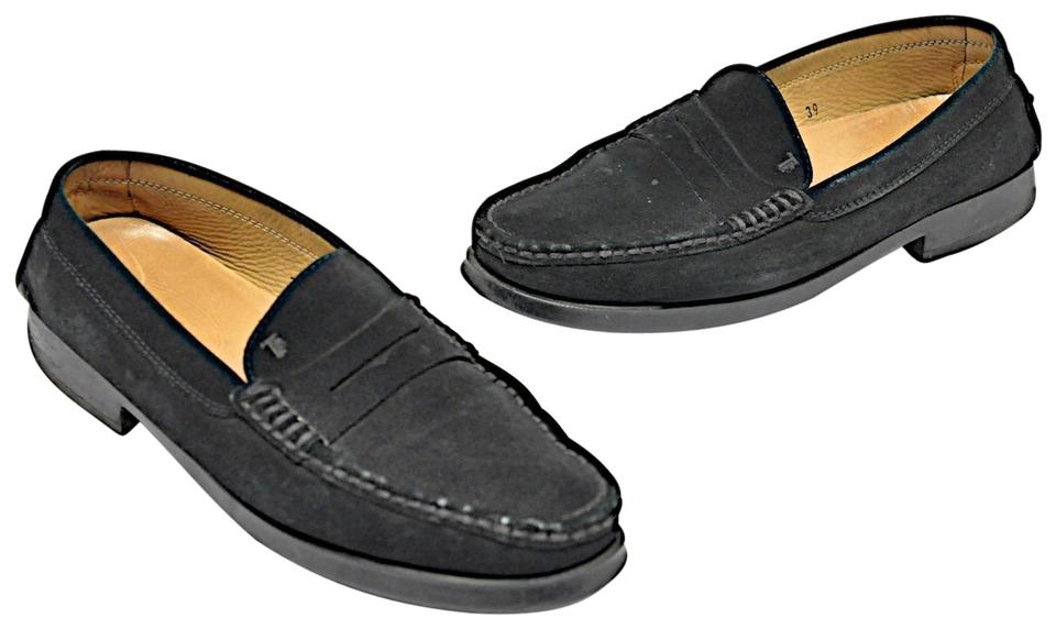 88a21224fb0 Tod s Black Suede Penny Loafers with Rubber Pebble Rear + Soles ...