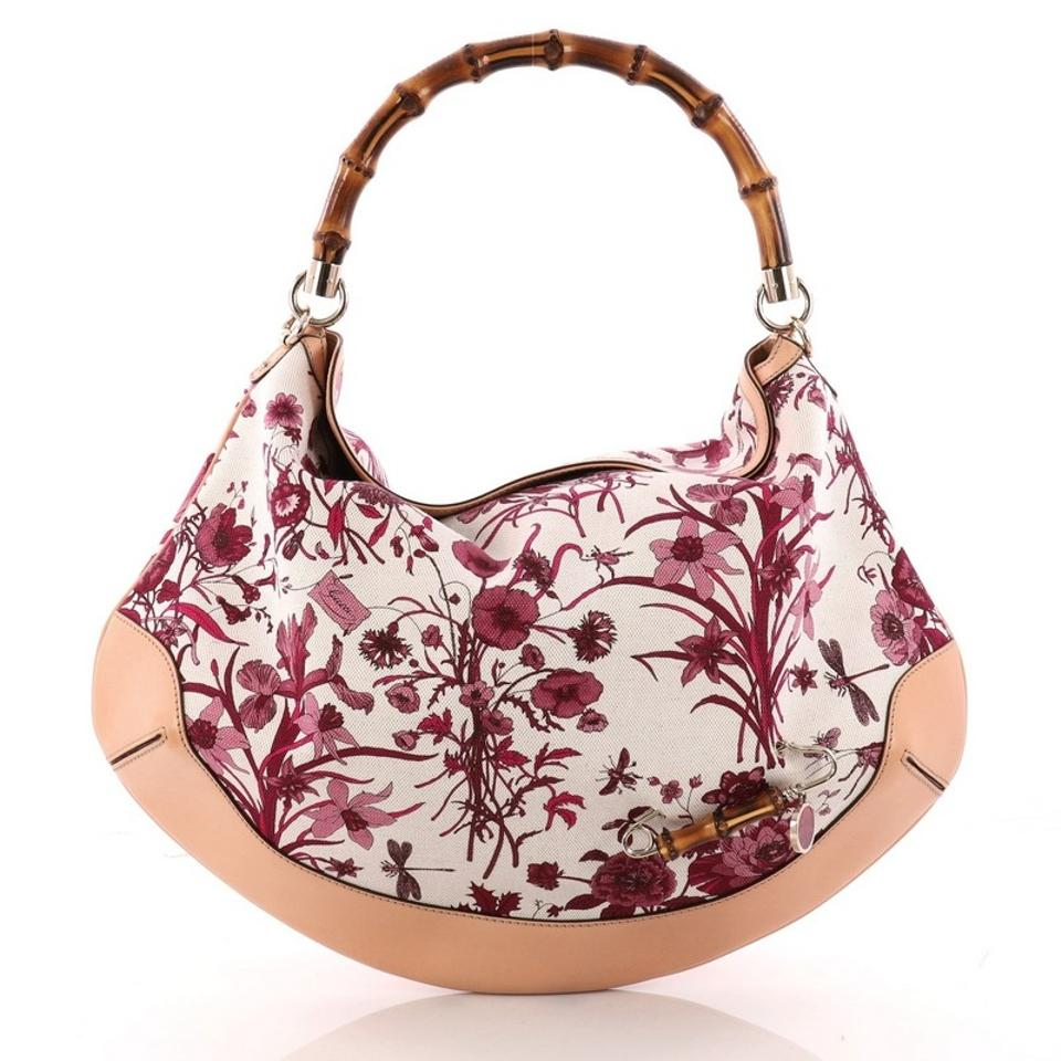 d879469f600 Gucci Peggy Bamboo Handle Flora Pink Canvas Hobo Bag - Tradesy