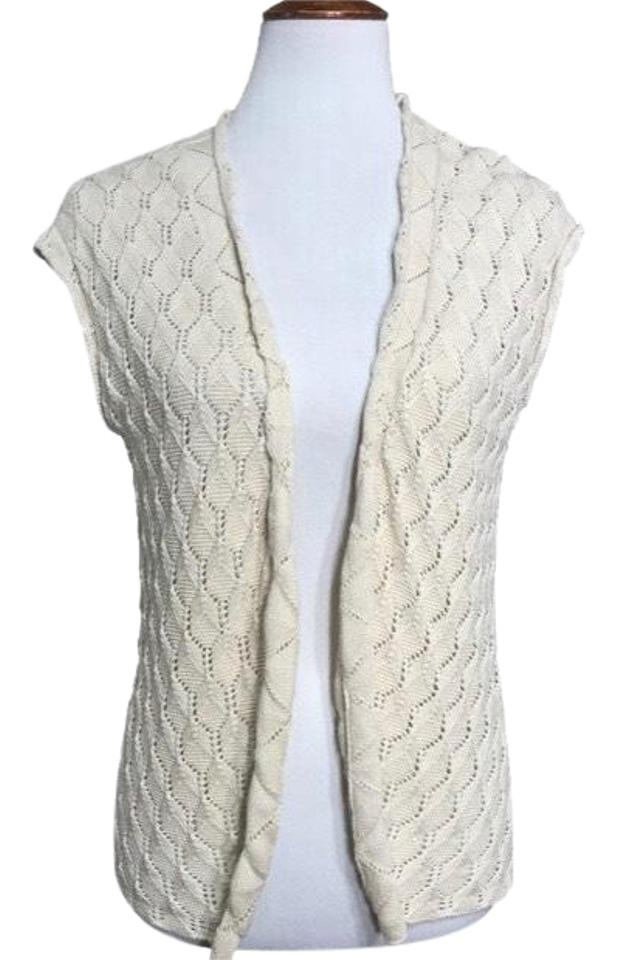 90a5c211d61a39 Anthropologie Cream Crochet Open Sleeveless Cardigan. Size  6 (S) ...