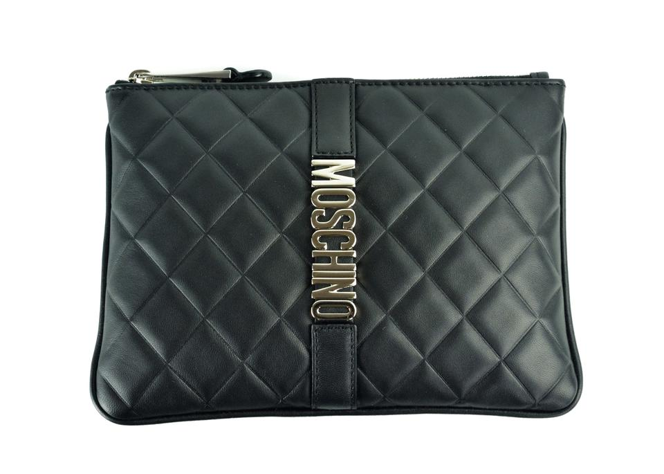 bec0fd5628 Moschino Womens Quilted Logo Clutch A1000 Black Leather Wristlet ...