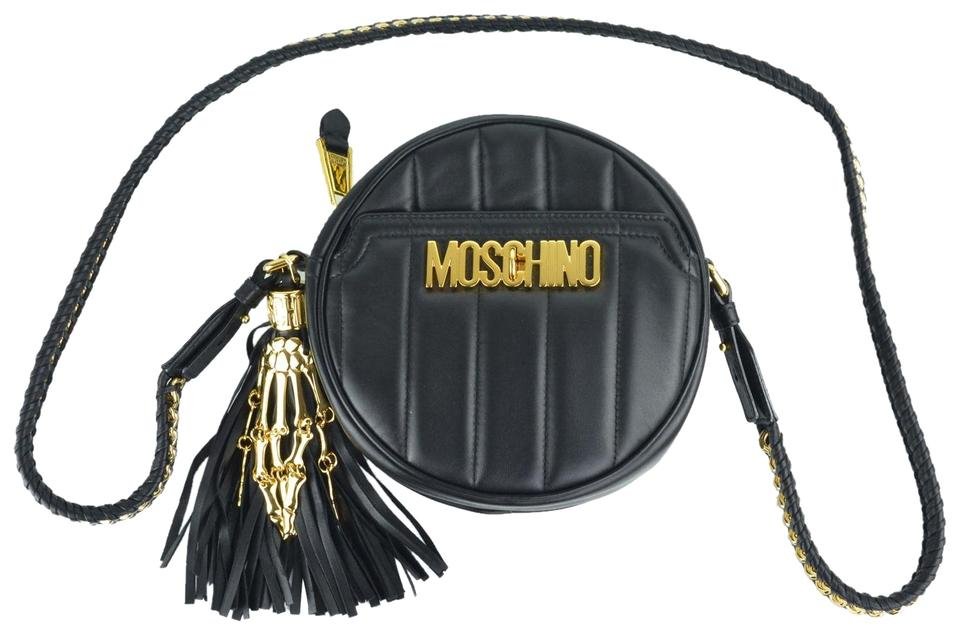f4579c54b4 Moschino Womens Round Quilted Shoulder Black Leather Wristlet - Tradesy