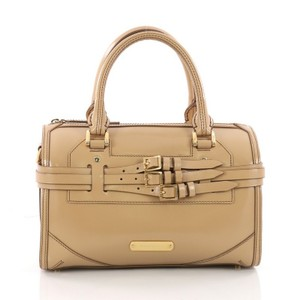 Burberry Leather Convertible Satchel in nude
