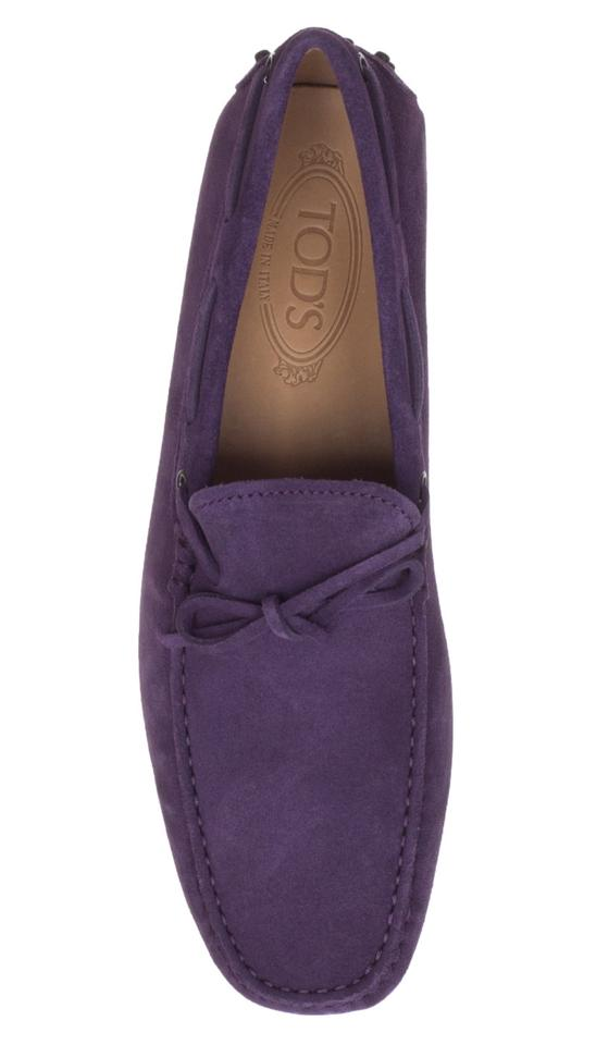 b8284bef4ae Tod s Purple Suede Pebbled Gommino Driving Moccasin Loafers Flats ...
