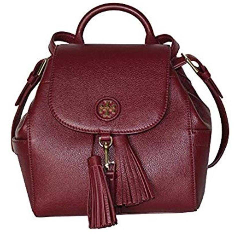 Mini Tory Backpack Logo Burgundy Leather Whipstitch Burch qtxt1ABO