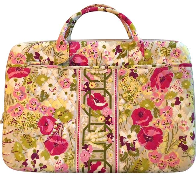 Item - Attaché Pink/Green/Taupe/Ivory Fabric Laptop Bag