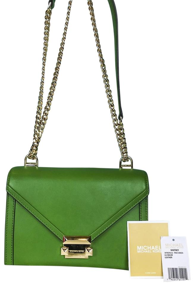 52a8ab0675a4 Michael Kors Whitney Green Leather Shoulder Bag - Tradesy