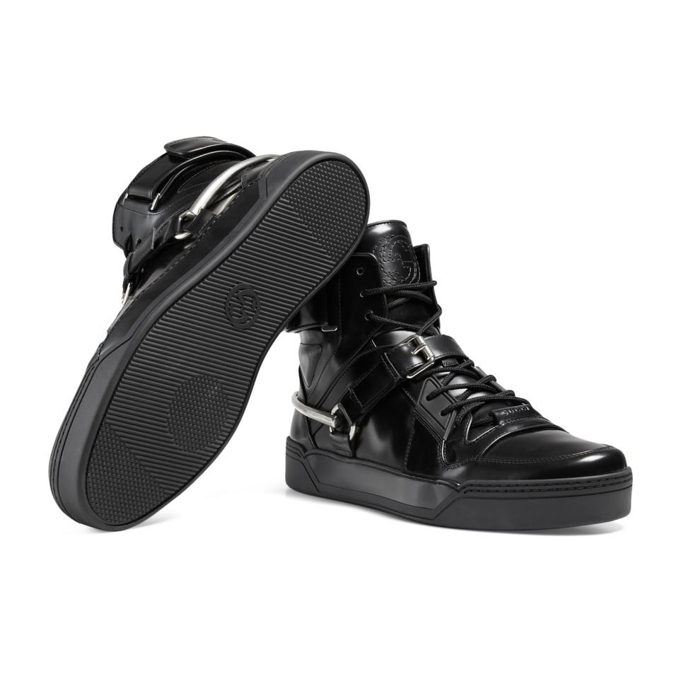 df4117e13426 Gucci Black Horsebit Men s Leather Gg High Top Sneakers Size US 12 Regular  (M