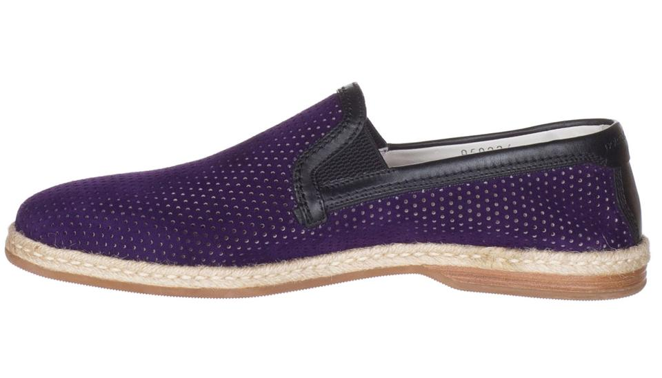 ac954acbf4623 Dolce&Gabbana Purple Dolce & Gabbana Men's Suede Perforated Loafers Slip On  Flats