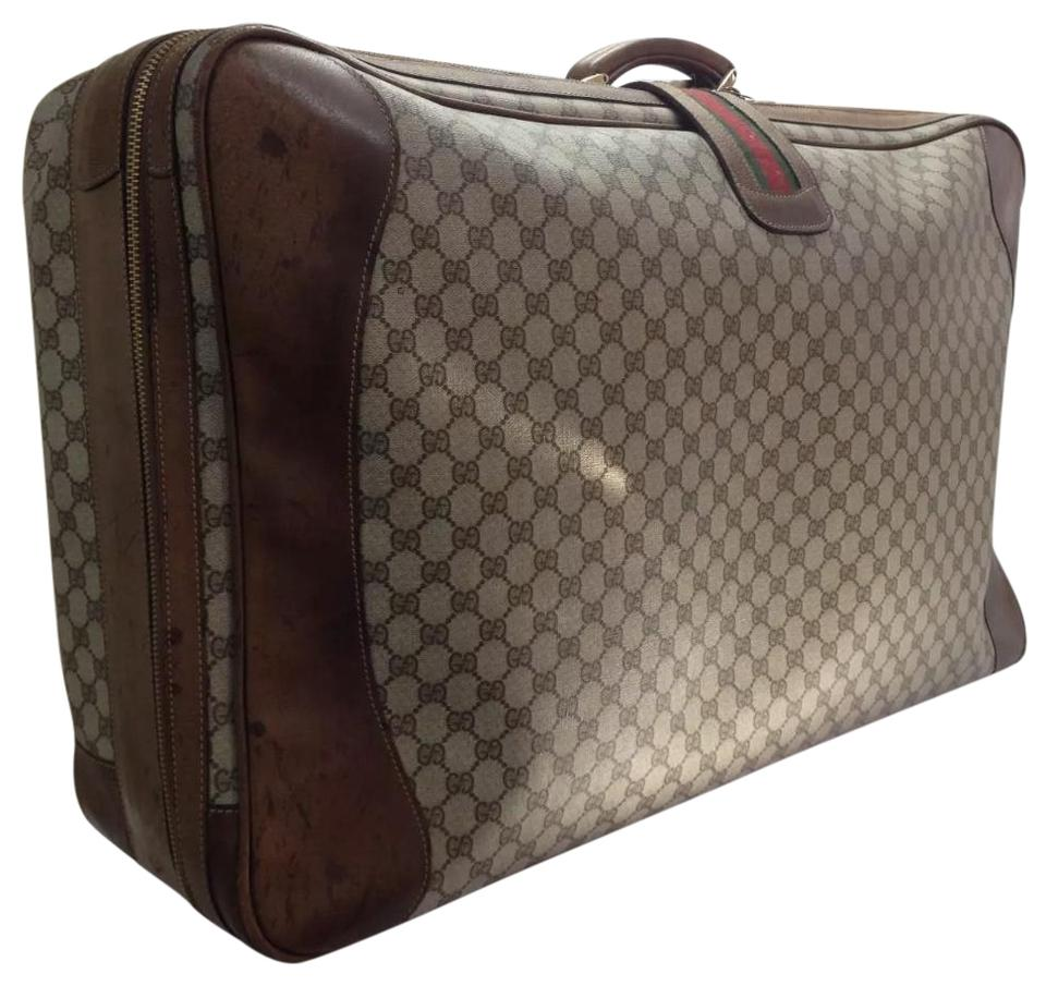 85a5a09aa5eb Gucci Vintage Web Gg Monogram Suit Case Trunk Brown Canvas Weekend ...
