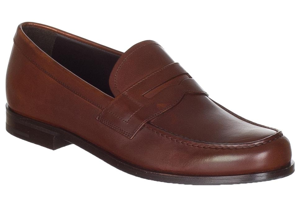 f5c370e9bf57f Prada Brown Men s Leather Slip On Loafers Formal Shoes Size US 7 ...